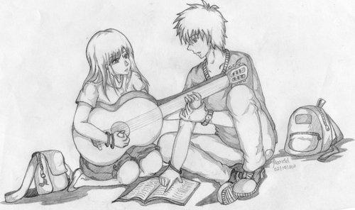 手绘男生短发铅笔画弹吉他
