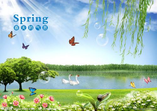 春天桃树水墨画