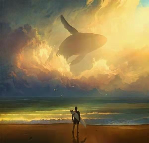 天空边际游动的鱼